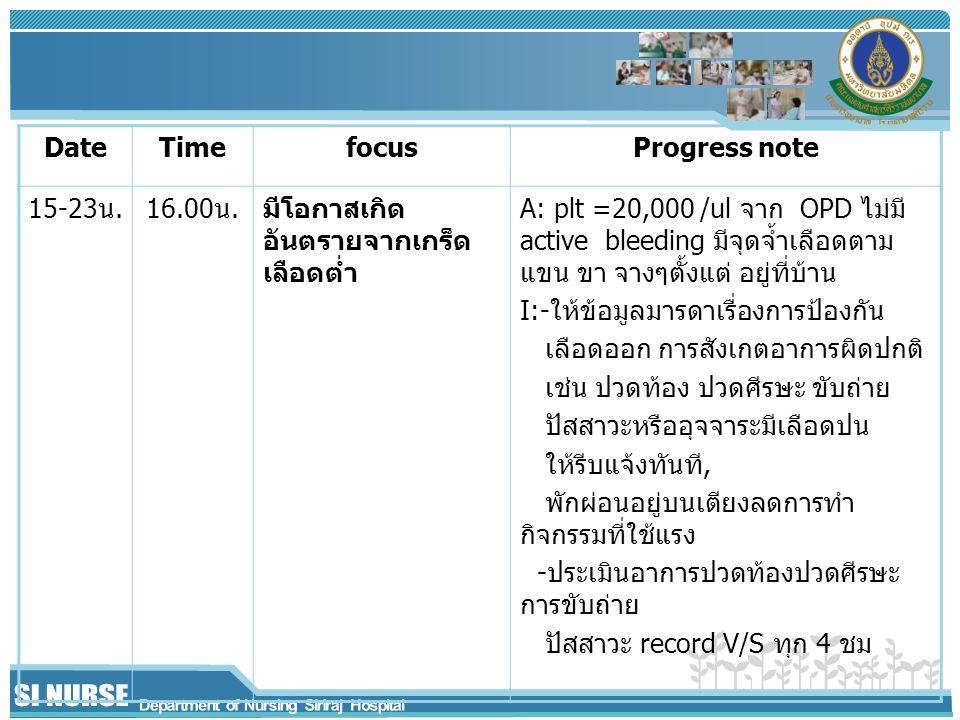 Date Time. focus. Progress note. 15-23น. 16.00น. มีโอกาสเกิดอันตรายจากเกร็ดเลือดต่ำ.