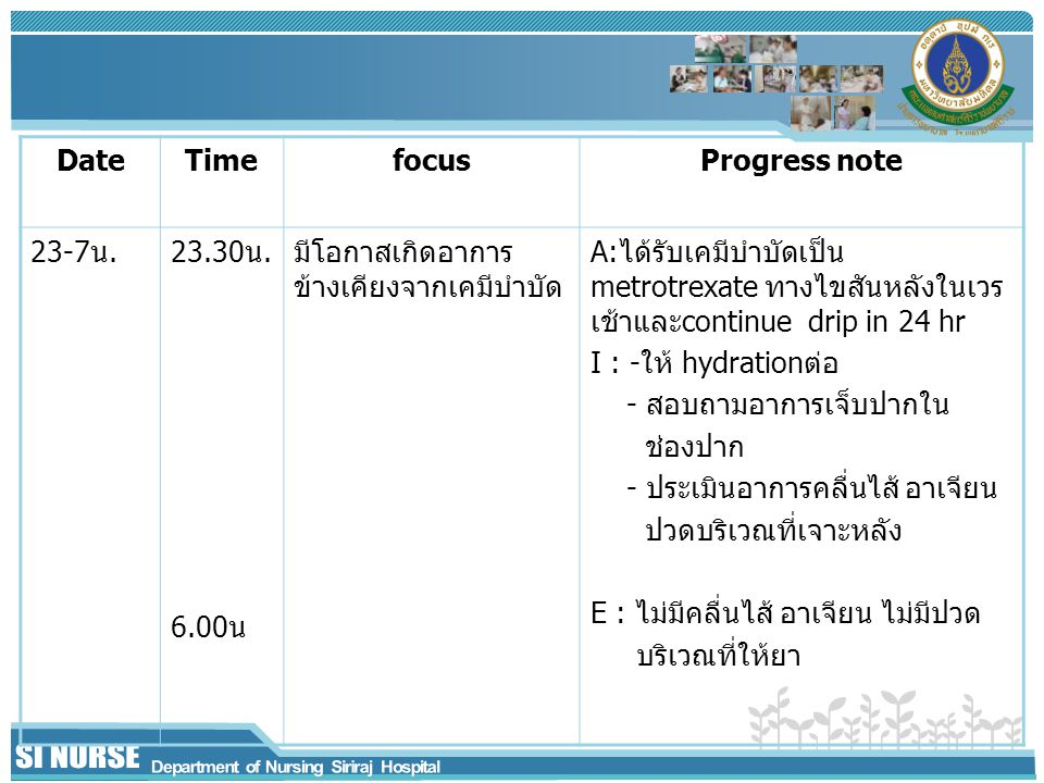 Date Time. focus. Progress note. 23-7น. 23.30น. 6.00น. มีโอกาสเกิดอาการข้างเคียงจากเคมีบำบัด.