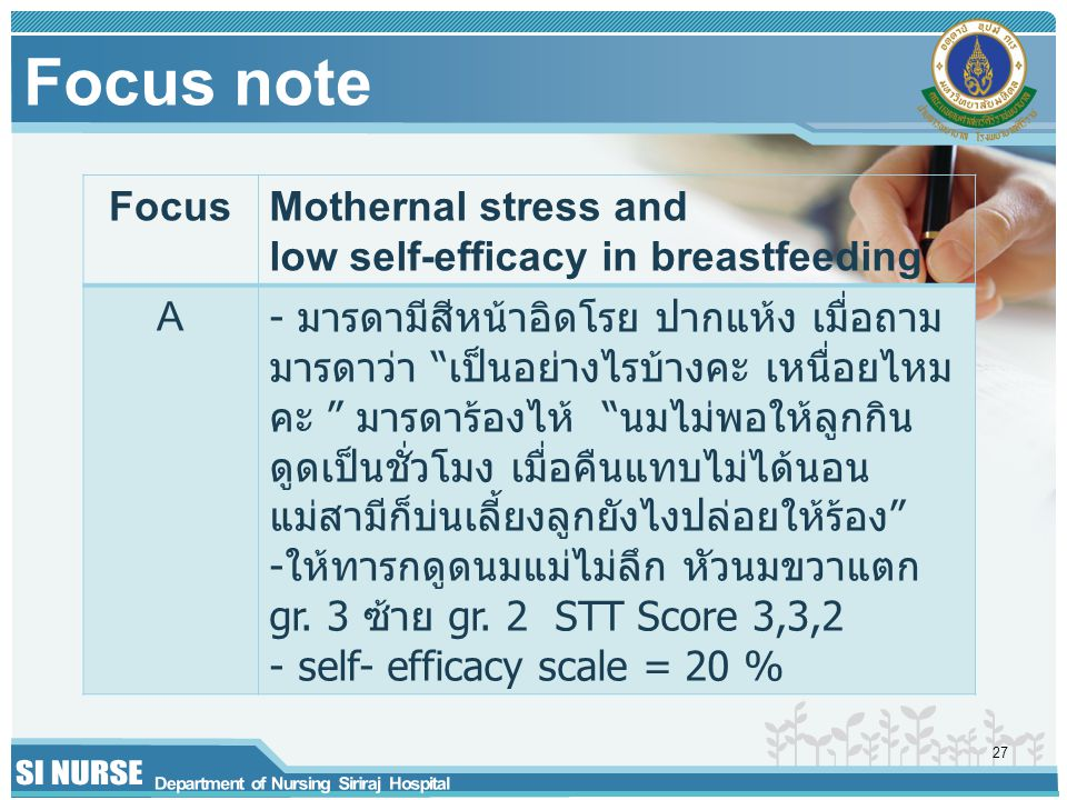Focus note Focus. Mothernal stress and low self-efficacy in breastfeeding. A.