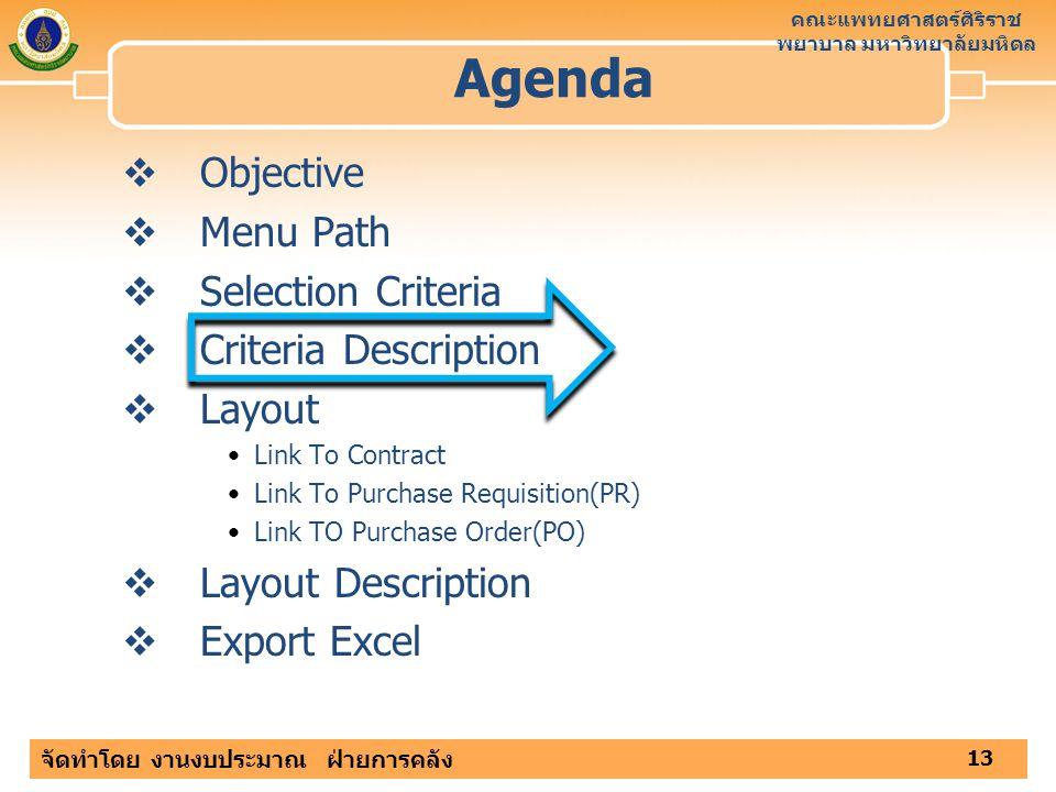 Agenda Objective Menu Path Selection Criteria Criteria Description