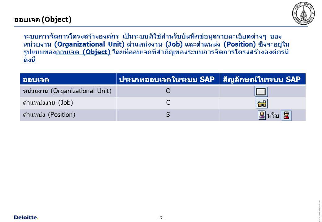 ประเภทออบเจคในระบบ SAP สัญลักษณ์ในระบบ SAP