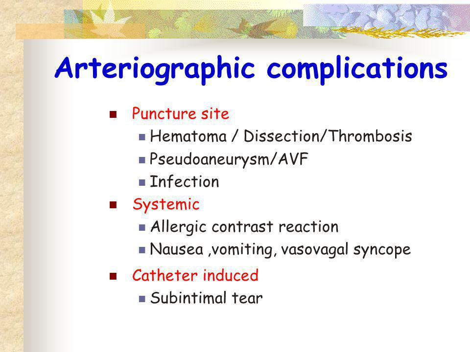 Arteriographic complications