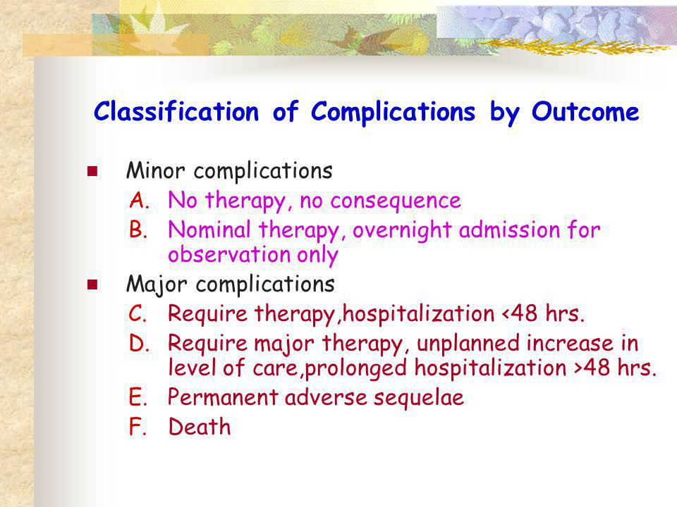 Classification of Complications by Outcome