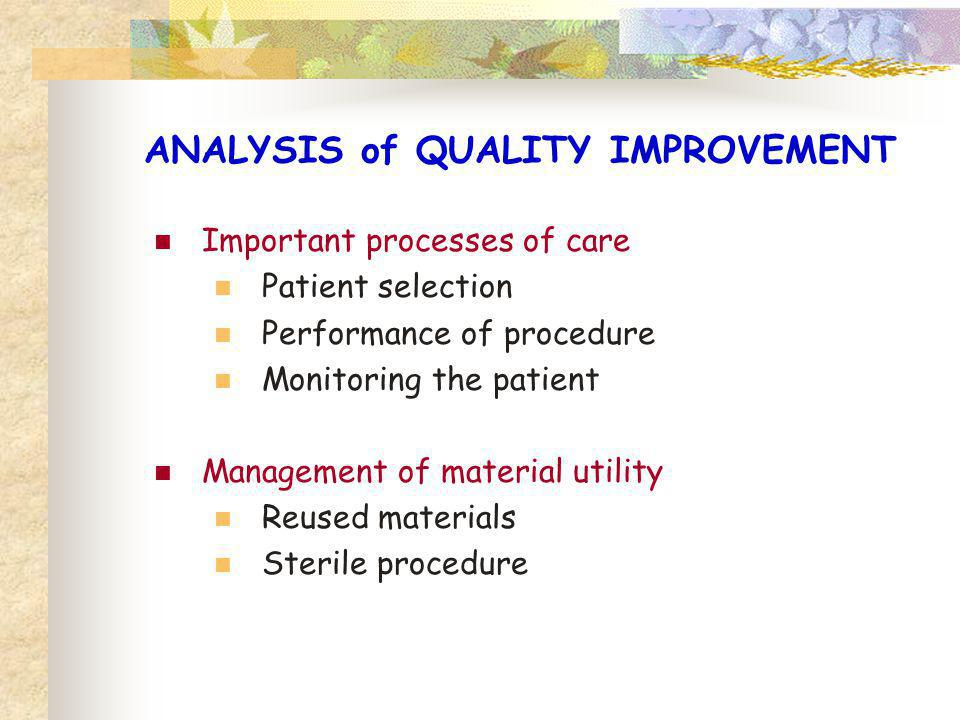 ANALYSIS of QUALITY IMPROVEMENT