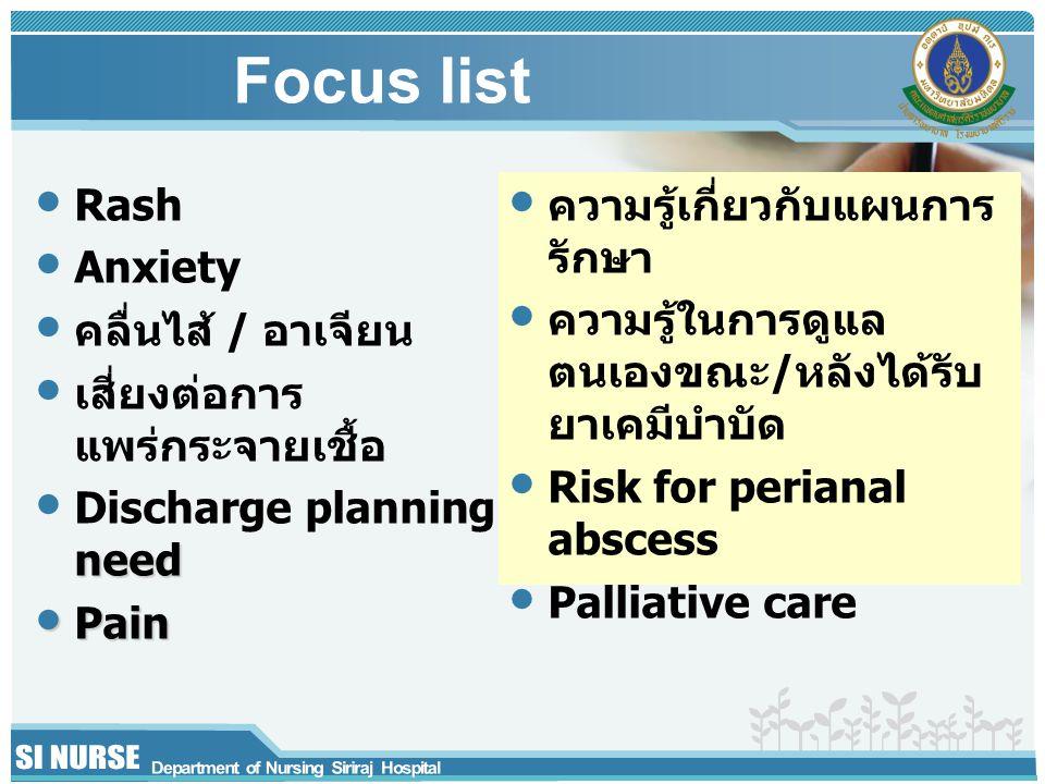 Focus list Rash Anxiety คลื่นไส้ / อาเจียน เสี่ยงต่อการแพร่กระจายเชื้อ