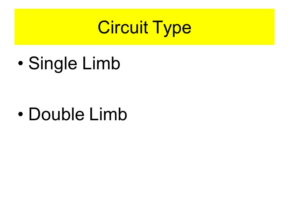 Circuit Type Single Limb Double Limb