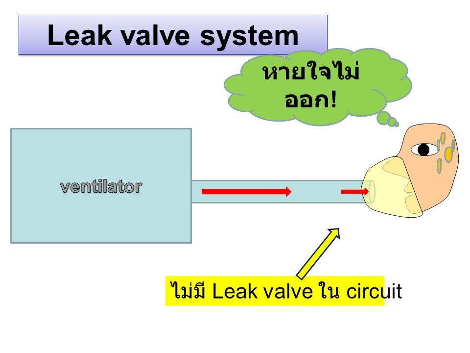 Leak valve system หายใจไม่ออก! ventilator ไม่มี Leak valve ใน circuit