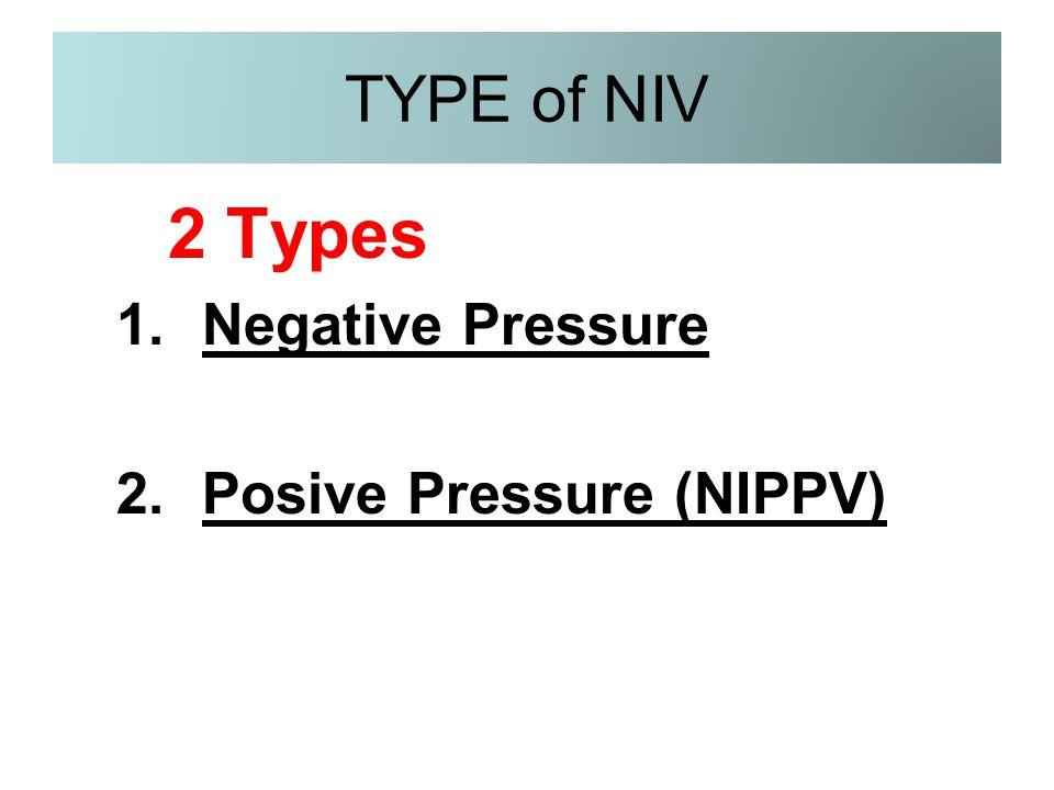 TYPE of NIV 2 Types Negative Pressure Posive Pressure (NIPPV)