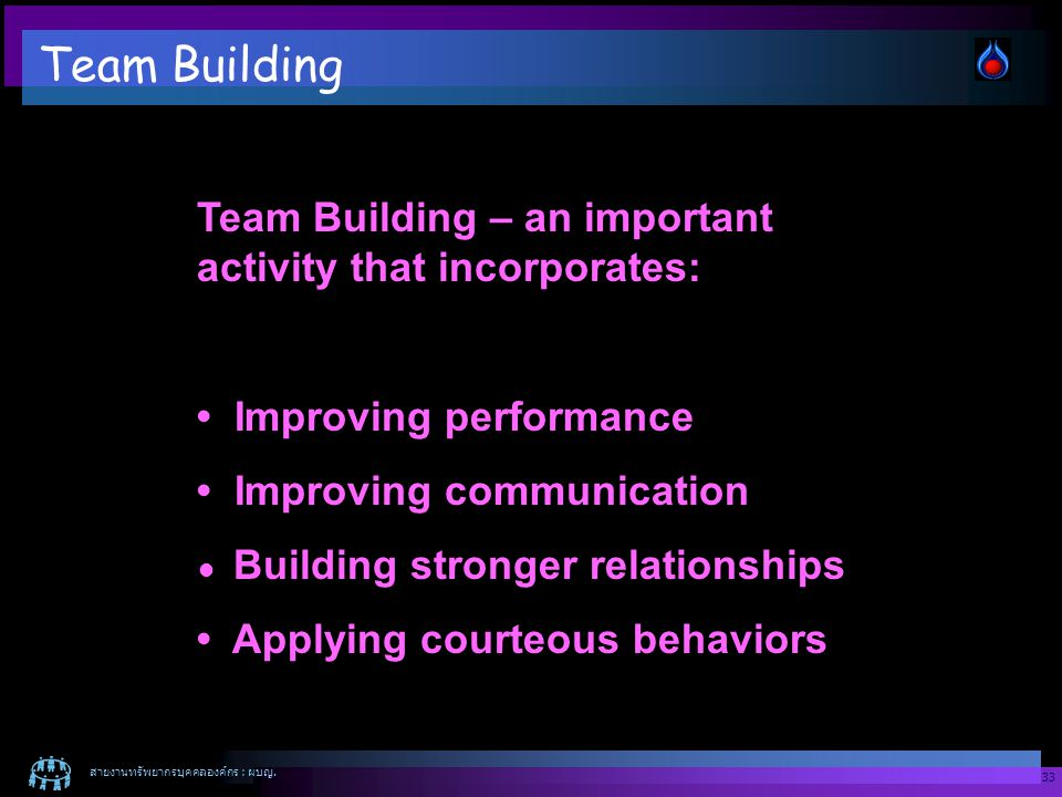 Team Building Team Building – an important activity that incorporates: