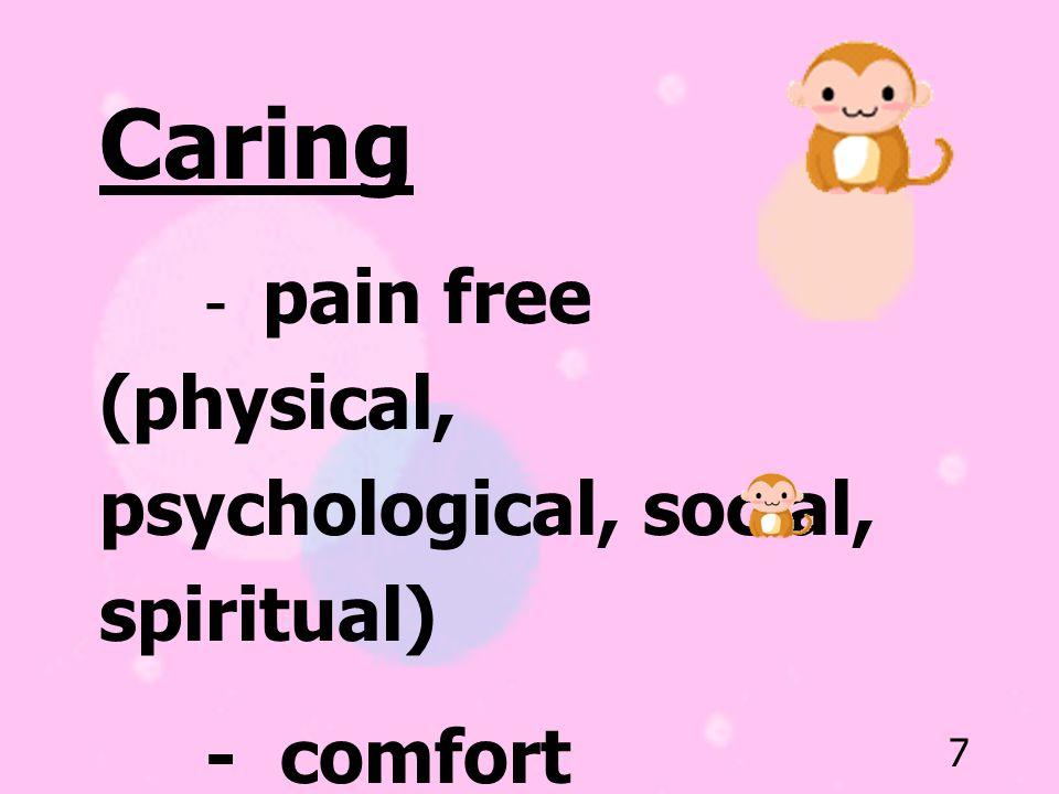 Caring - comfort - fully mental alert (sense of control)