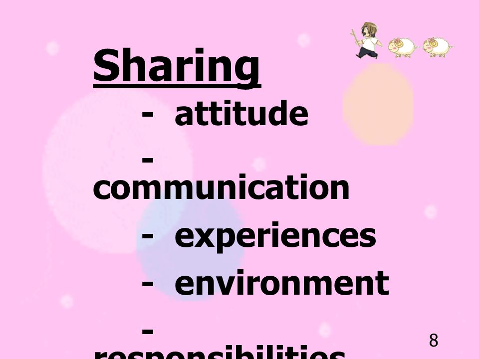 Sharing - communication - experiences - environment - responsibilities