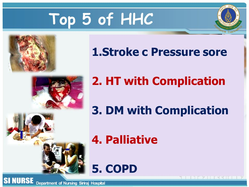 Top 5 of HHC 1.Stroke c Pressure sore 2. HT with Complication 3.