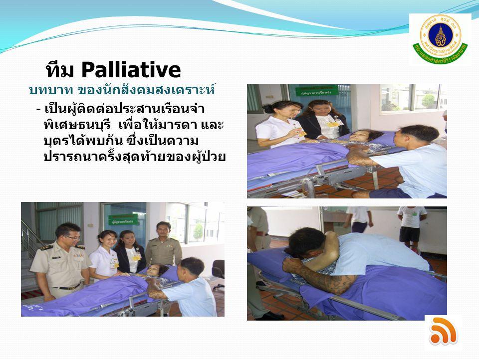 ทีม Palliative บทบาท ของนักสังคมสงเคราะห์
