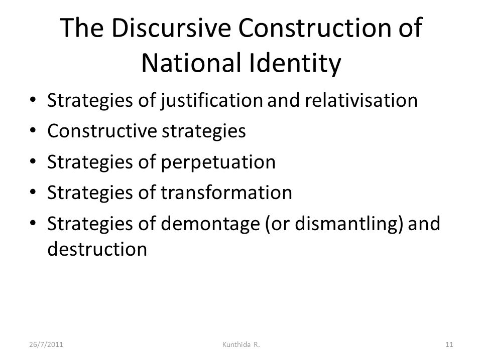 The Discursive Construction of National Identity