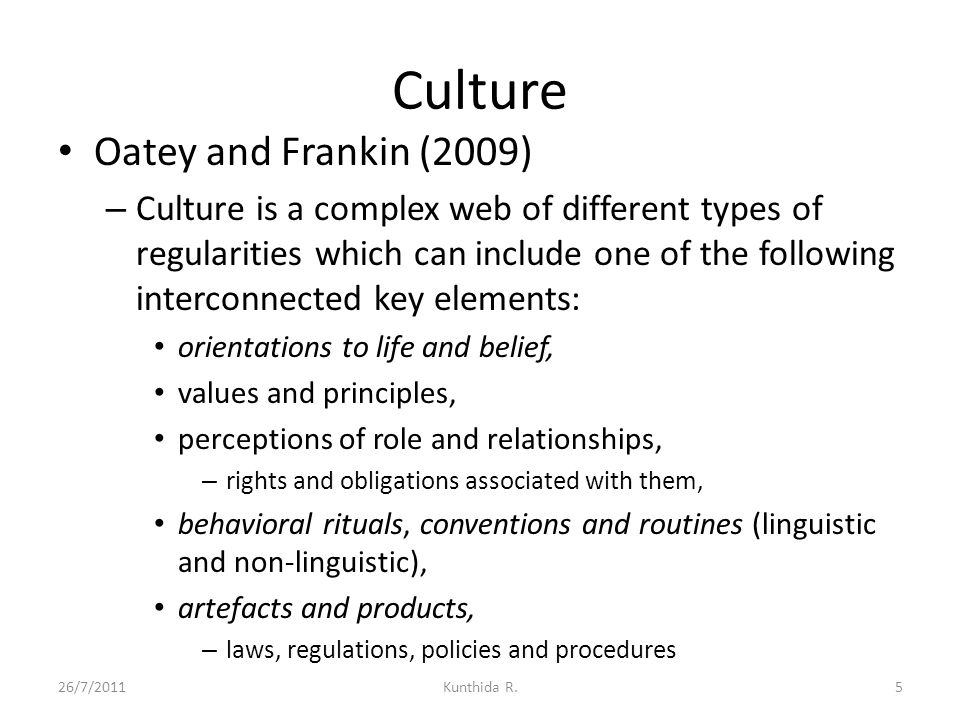 Culture Oatey and Frankin (2009)