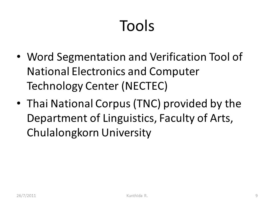 Tools Word Segmentation and Verification Tool of National Electronics and Computer Technology Center (NECTEC)