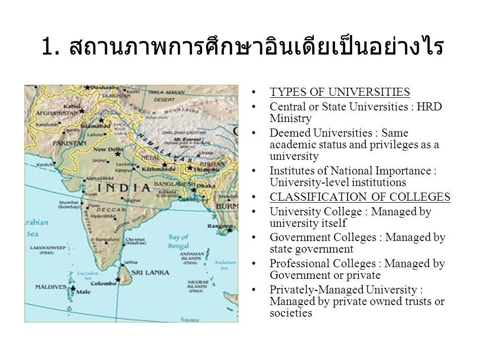 1. สถานภาพการศึกษาอินเดียเป็นอย่างไร