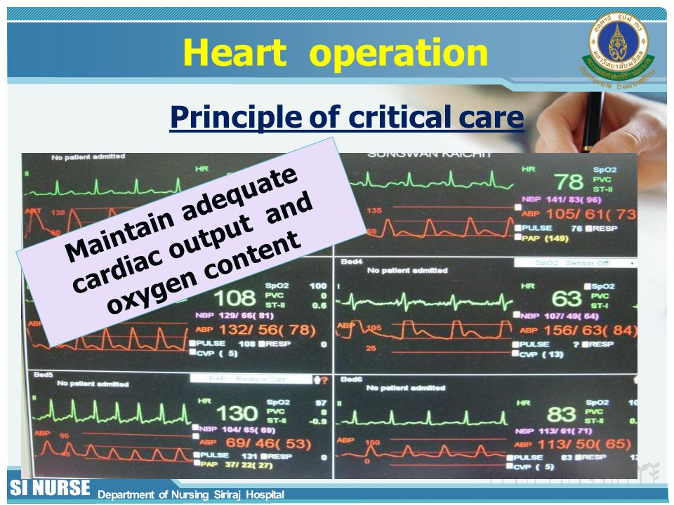 Heart operation Maintain adequate cardiac output and oxygen content