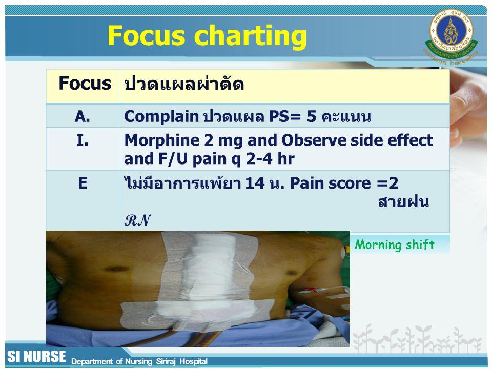 Focus charting Focus ปวดแผลผ่าตัด A. Complain ปวดแผล PS= 5 คะแนน I.