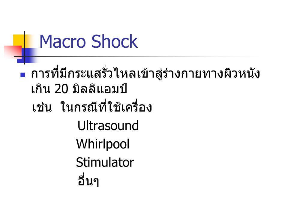 Macro Shock การที่มีกระแสรั่วไหลเข้าสู่ร่างกายทางผิวหนัง เกิน 20 มิลลิแอมป์ เช่น ในกรณีที่ใช้เครื่อง.