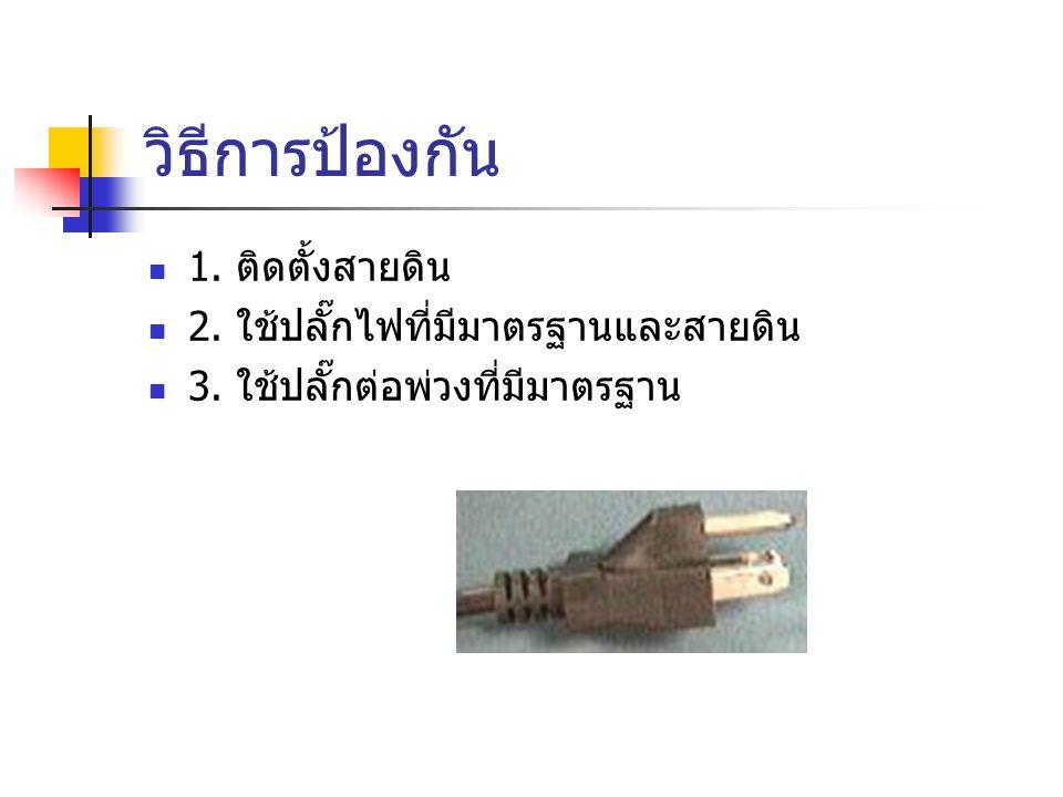 วิธีการป้องกัน 1. ติดตั้งสายดิน 2. ใช้ปลั๊กไฟที่มีมาตรฐานและสายดิน