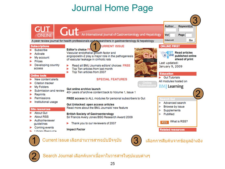 Journal Home Page 3. 1. 2. 1. 3. Current Issue เลือกอ่านวารสารฉบับปัจจุบัน. เลือกการสืบค้นจากข้อมูลอ้างอิง.
