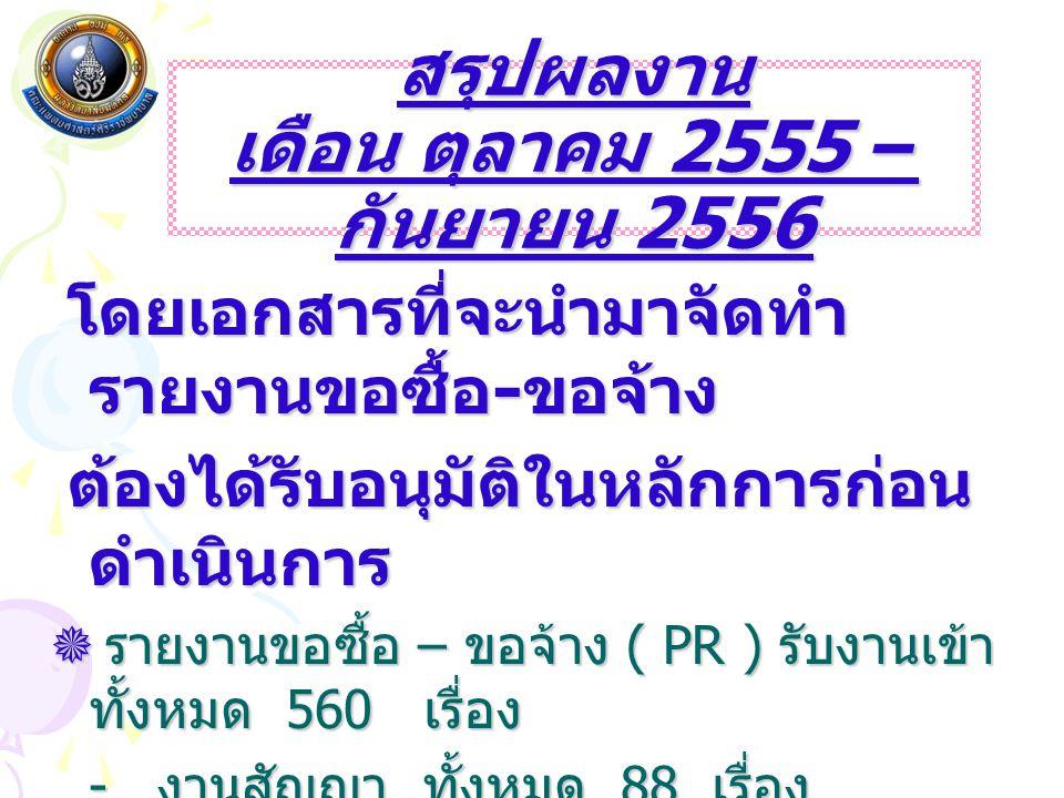 สรุปผลงาน เดือน ตุลาคม 2555 – กันยายน 2556
