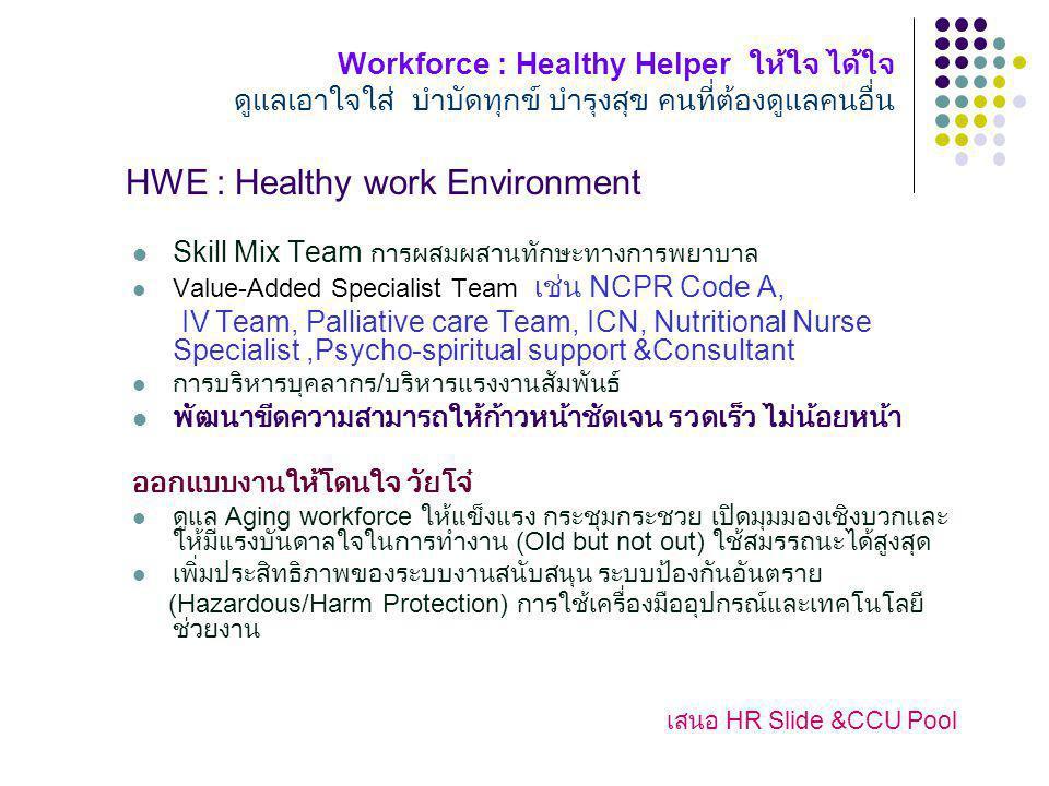 Workforce : Healthy Helper ให้ใจ ได้ใจ ดูแลเอาใจใส่ บำบัดทุกข์ บำรุงสุข คนที่ต้องดูแลคนอื่น