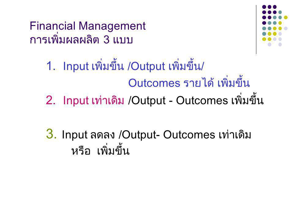 Financial Management การเพิ่มผลผลิต 3 แบบ