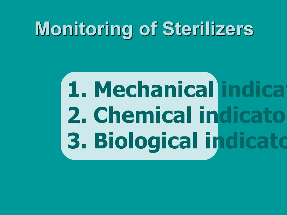 1. Mechanical indicator 2. Chemical indicator 3. Biological indicator