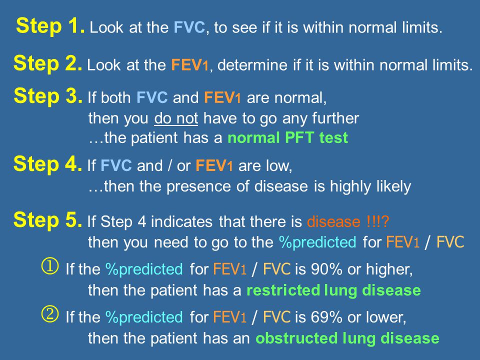 Step 1. Look at the FVC, to see if it is within normal limits.