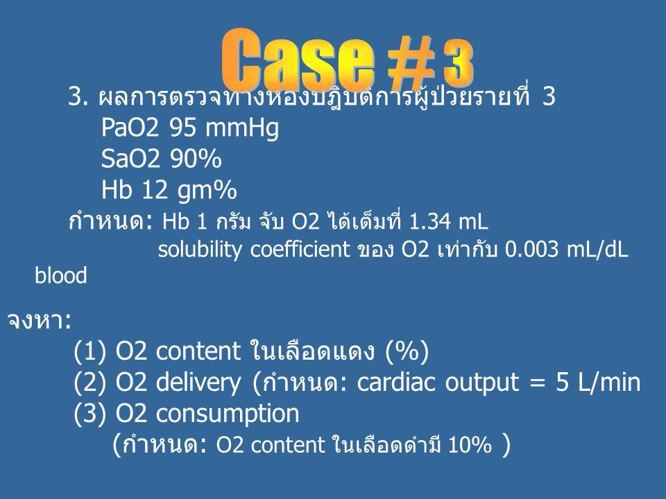Case # 3 3. ผลการตรวจทางห้องปฎิบัติการผู้ป่วยรายที่ 3 PaO2 95 mmHg