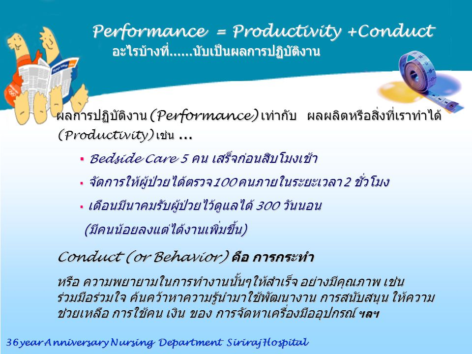 Performance = Productivity +Conduct