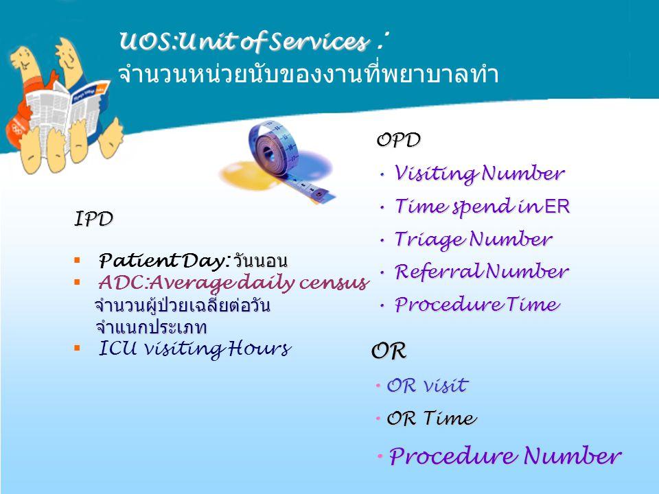 UOS:Unit of Services : จำนวนหน่วยนับของงานที่พยาบาลทำ