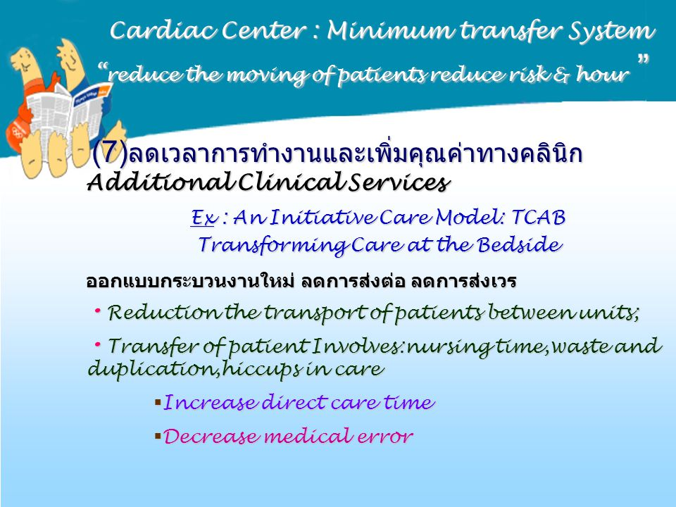 Ex : An Initiative Care Model: TCAB Transforming Care at the Bedside