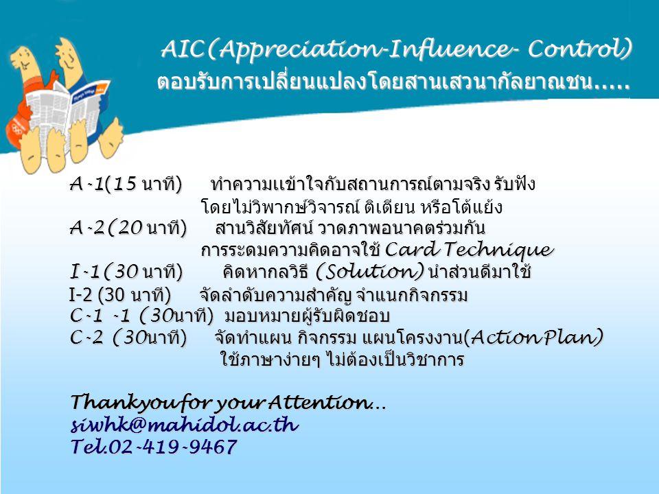 AIC(Appreciation-Influence- Control) ตอบรับการเปลี่ยนแปลงโดยสานเสวนากัลยาณชน.....