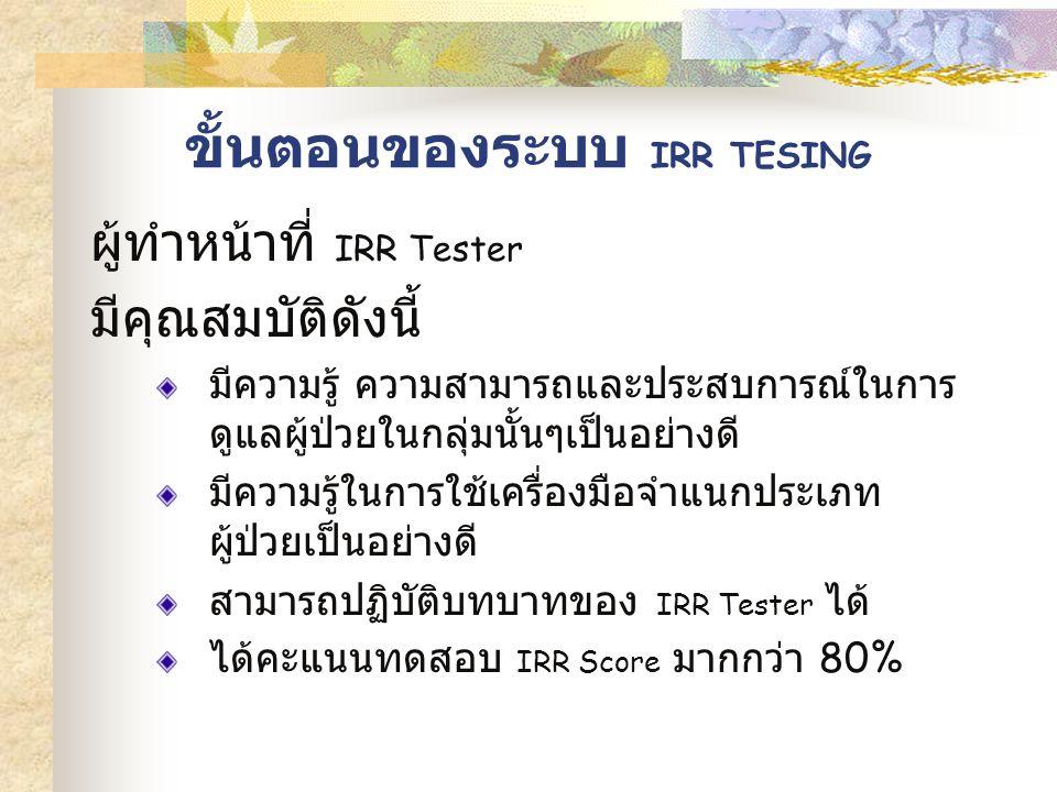 ขั้นตอนของระบบ IRR TESING