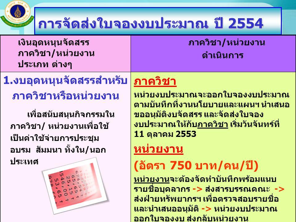 การจัดส่งใบจองงบประมาณ ปี 2554