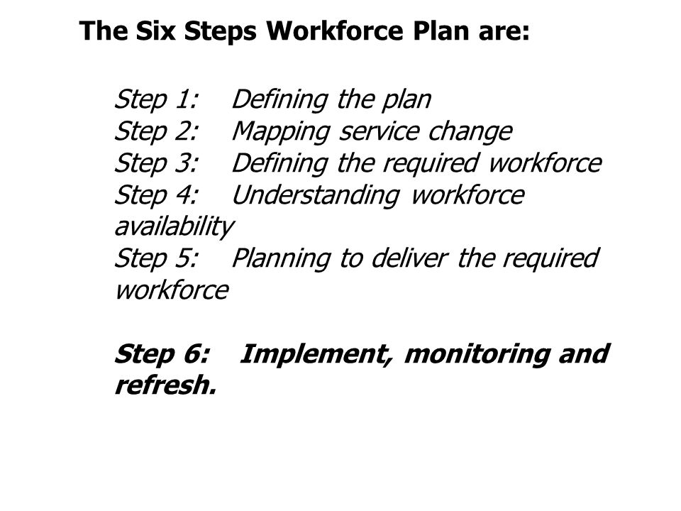 The Six Steps Workforce Plan are: