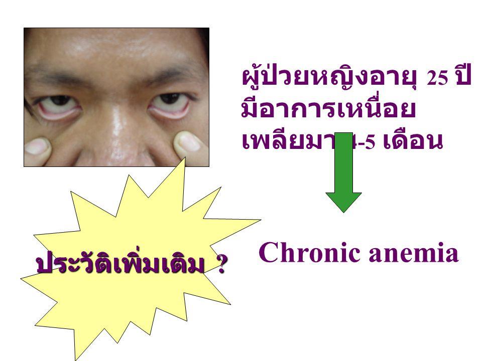 Chronic anemia ผู้ป่วยหญิงอายุ 25 ปี มีอาการเหนื่อยเพลียมา 4-5 เดือน