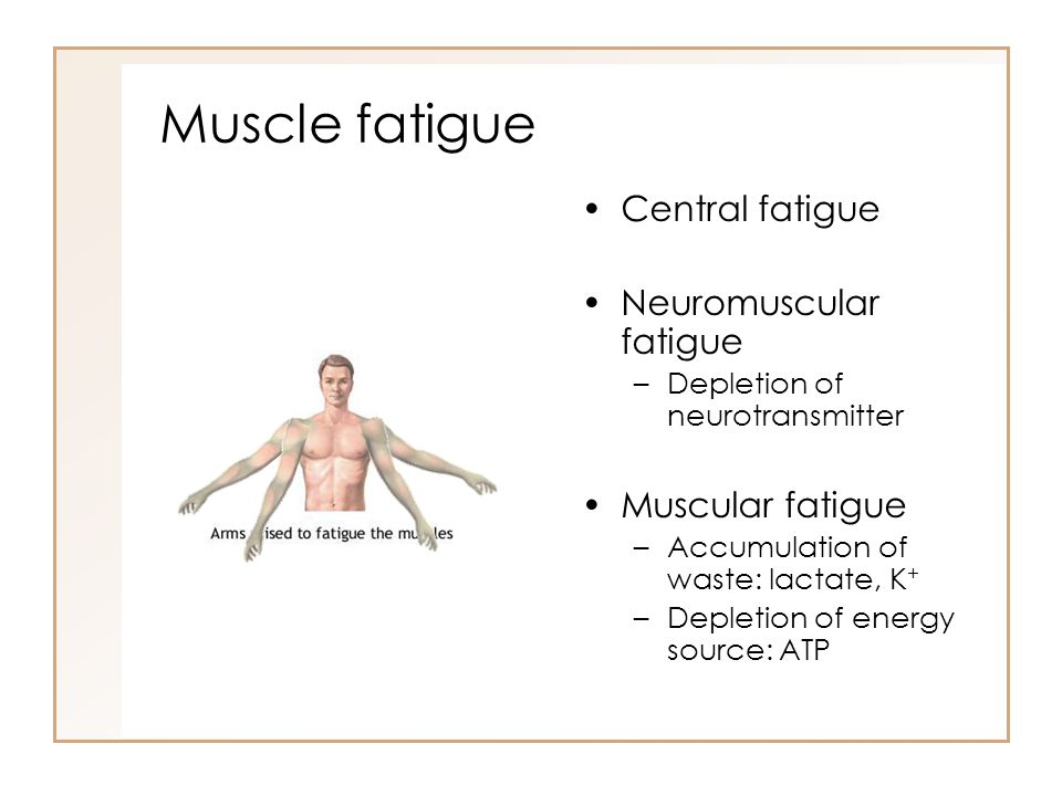 Muscle fatigue Central fatigue Neuromuscular fatigue Muscular fatigue