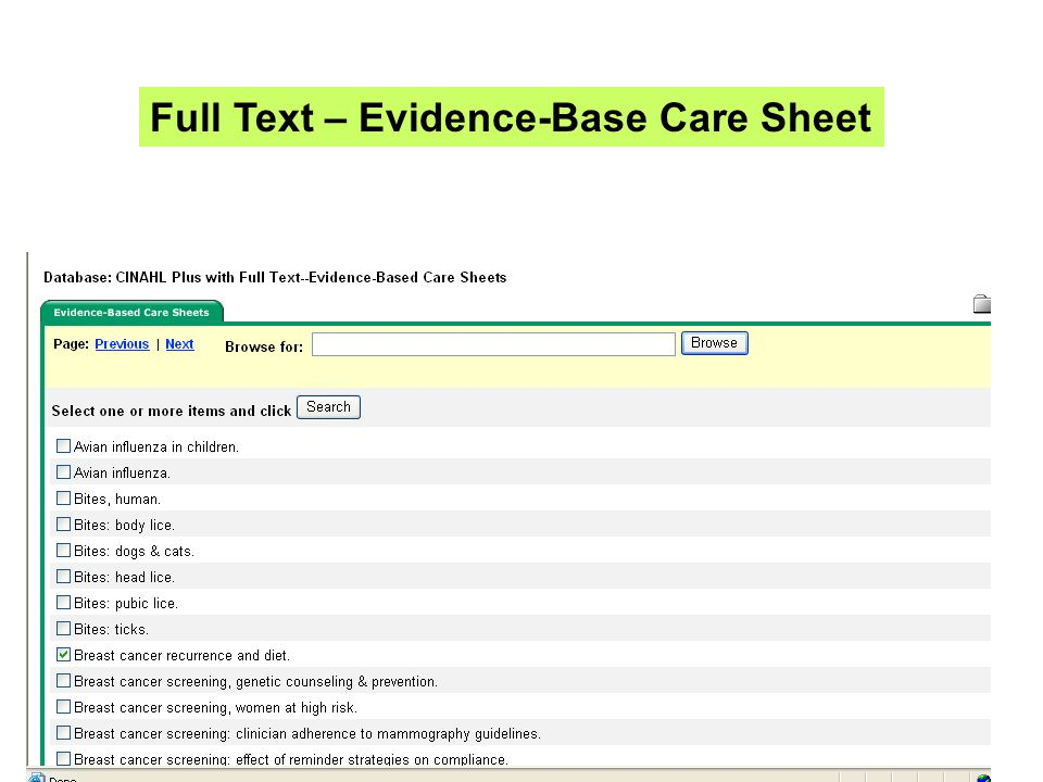 Full Text – Evidence-Base Care Sheet