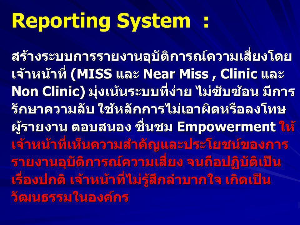 Reporting System : สร้างระบบการรายงานอุบัติการณ์ความเสี่ยงโดย