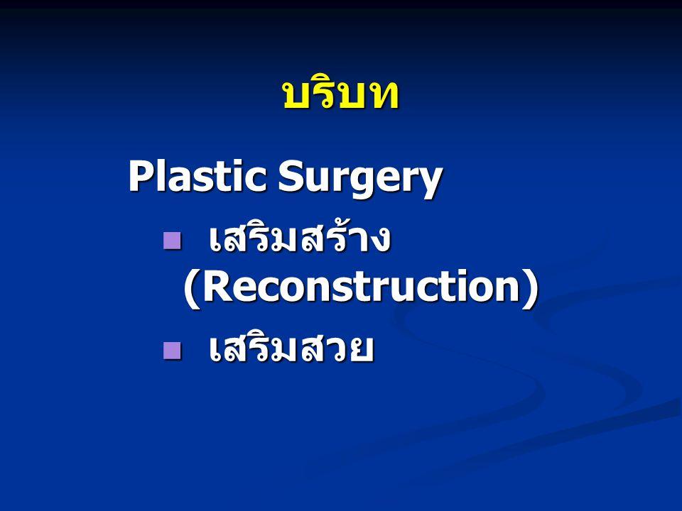 บริบท Plastic Surgery เสริมสร้าง (Reconstruction) เสริมสวย