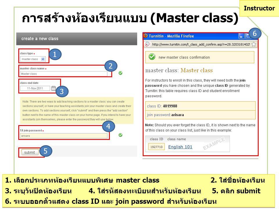 การสร้างห้องเรียนแบบ (Master class)