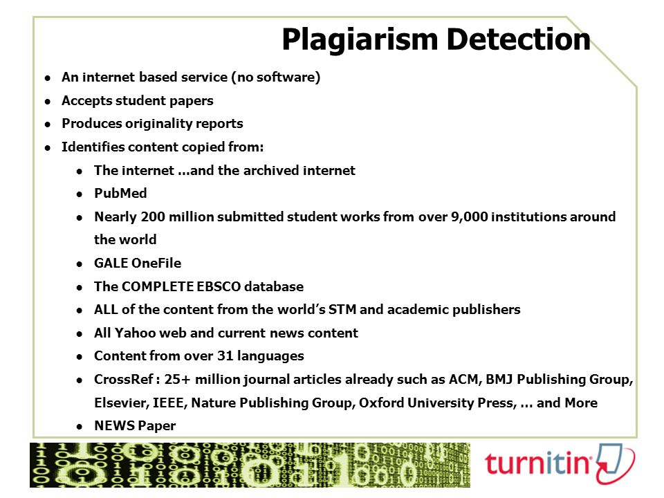 Plagiarism Detection An internet based service (no software)