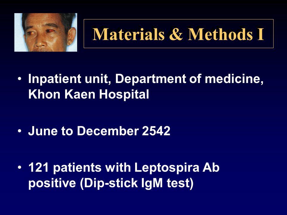 Materials & Methods I Inpatient unit, Department of medicine, Khon Kaen Hospital. June to December 2542.