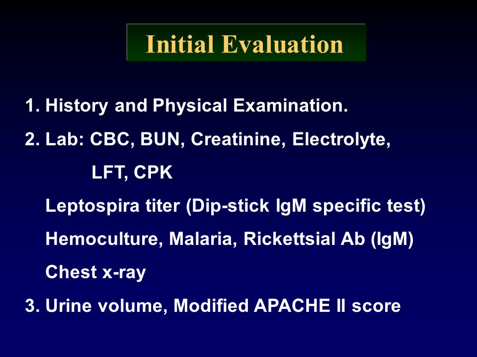 Initial Evaluation 1. History and Physical Examination.