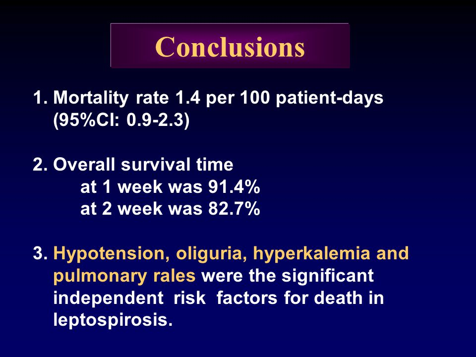 Conclusions 1. Mortality rate 1.4 per 100 patient-days