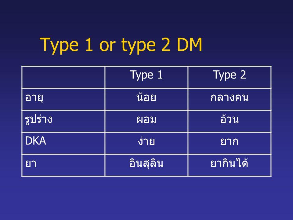Type 1 or type 2 DM Type 1 Type 2 อายุ น้อย กลางคน รูปร่าง ผอม อ้วน